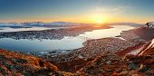 Norway City Panorama - Tromso At Sunset