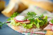 Sandwich With Lettuce, Ham And Radish
