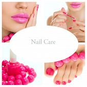 Pedicure Process - Pink Manicure And Pedicure Collage (bright Pink Nail Polish)