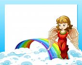 Illustration of an empty template with a rainbow and an angel