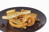 Fried Pork On Dish , Asian Food