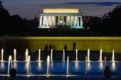 Lincoln Memorial with World War II Memorial foreground at night