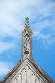 Stone Carving Of St. Swithun On Top Of Winchester Cathedral
