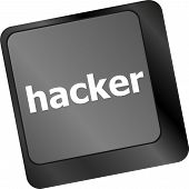 Hacker Word On Keyboard, Attack, Internet Terrorism Concept