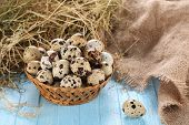 Quail Eggs In A Wicker Basket