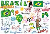 Summer in Brazil - doodles collection - vacation, football, Brazilian accessories, clothes, trees, m