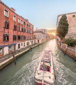 Gondola with gondolier in Venice, Italy