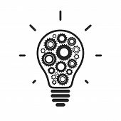 Simple light bulb conceptual icon with gears inside