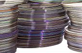 Extreme Closeup Of Shiny Colorful Compact Discs