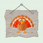 Wooden Sign With Turkey
