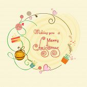 Merry Christmas greeting card decorated with wishing text, Xmas ball, flowers and gift box on stylish background.