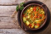 Vegetable Soup With Mungbeen Top View Horizontal