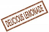 Delicious Lemonade Red Square Stamp Isolated On White Background