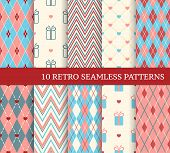 10 Retro Different Seamless Patterns.