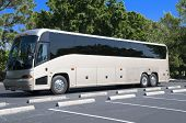 stock photo of motor coach  - New modern bus with tinted windows waiting for passengers - JPG