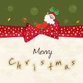 Beautiful greeting card decorated with red ribbon, stocking and Santa Claus for Merry Christmas celebrations.