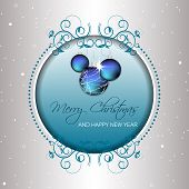 Christmas background with baubles and snow for greeting card