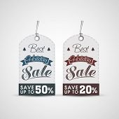 Sale and discount tag or label for Merry Christmas and other occasion celebrations.