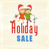 Sale poster or banner with cute kids in Santa cap on stylish background for Merry Christmas celebrations.