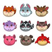 Cute cartoon round animals