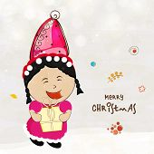 Cute little girl in cap and holding a gift box for Merry Christmas celebration on stylish background.