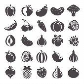 Fruits, berries and vegetables icons