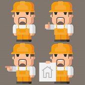 Builder Indicates in different poses