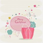 Merry Christmas celebrations greeting card design decorated with wishing text and gift box on stylish background.