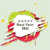 Happy New Year 2015 greeting card design with stylish text on colorful abstract background.