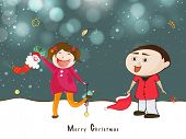 Cute little kids playing on winter night background for Merry Christmas celebrations.