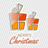 Poster, banner or flyer with colorful gift boxes on stylish grey background for Merry Christmas celebration.