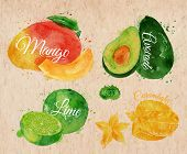 stock photo of mango  - Exotic fruit set drawn watercolor blots and stains with a spray mango - JPG
