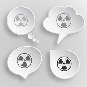 Radiation symbol. White flat raster buttons on gray background.