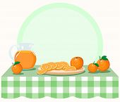 Oranges On Checkered Tablecloth