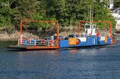 Fowey,cornwall,uk - August 15Th 2014: Bodinnick To Fowey Car Ferry Crossing The River Fowey.  This C