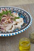 Marinated squid salad-background