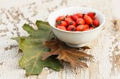 stock photo of wild-brier  - red rose hips in bowl with oak leaves on grunge wooden table