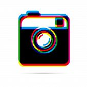 Hipster camera flat icon with shadow