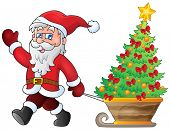 Santa Claus walk theme 5 - eps10 vector illustration.