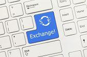 White Conceptual Keyboard - Exchange (blue Key)