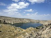 image of euphrat  - historical village and castle at birecik dam of halfeti turkey