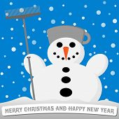 Snowman With A Broom And A Pot On His Head