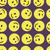 Yellow mugs smilies seamless texture