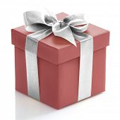 Single red gift box with sliver ribbon on white background.