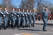 Group of police special troops on parade