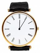 Twelve O'clock And Five Minutes On Wristwatch