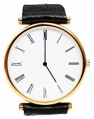 Five O'clock On Dial Of Wristwatch Isolated
