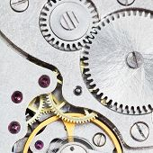 Background From Steel Movement Of Retro Watch