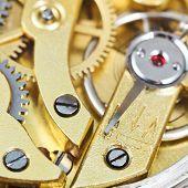Brass Mechanical Movement Of Retro Clock