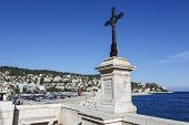 The Cross Made Of Iron At The Sea Coast In Nice